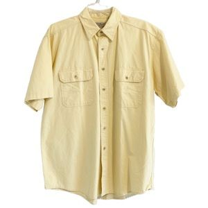LL BEAN Short Sleeve Denim Button Up Shirt Yellow